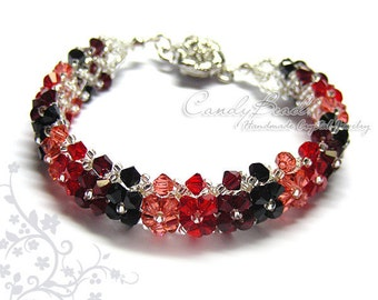 Black and Red Swarovski Crystal Bracelet by CandyBead