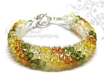 Swarovski bracelet, Autumn Colors Swarovski Crystal Bracelet by CandyBead