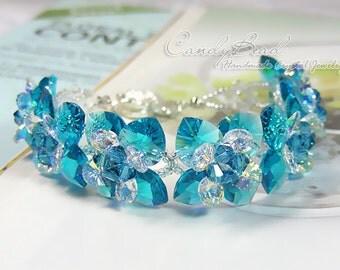 Swarovski bracelet, Blue Zircon Flowers Swarovski Crystal Bracelet by CandyBead