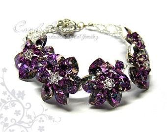 Swarovski bracelet, Purple Amethyst Flowers Swarovski Crystal Bracelet by CandyBead