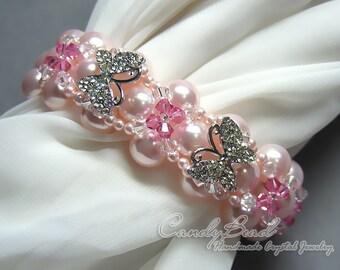 Swarovski Pearl Bracelet, Sweet pink blossom and rhinestone butterflies pearl cuff bracelet by CandyBead