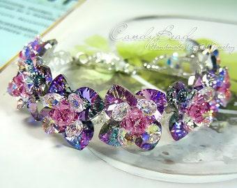 Swarovski Bracelet, Magic Purple Flowers Swarovski Crystal Bracelet by CandyBead