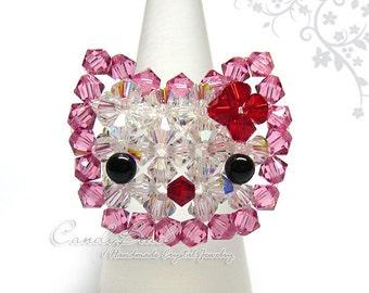 Swarovski Ring;crystal ring;Swarovski ring, Cutie Kitty Cat Ring (R001-02)