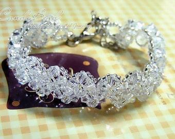 Swarovski Crystal Bracelet, Pure white Crystal Bracelet by CandyBead