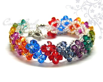 Rainbow bracelet; crystal bracelet; Swarovski bracelet; Glass bracelet;Dark Berry Swarovski Crystals Bracelet