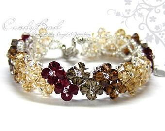 Swarovski Crystal Bracelet, Neutral Brown Crystal Bracelet by CandyBead