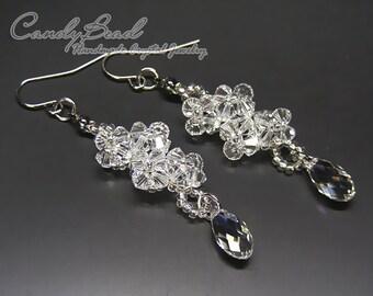 Swarovski Crystal Earrings, Pure White Swarovski Crystal Earrings by CandyBead