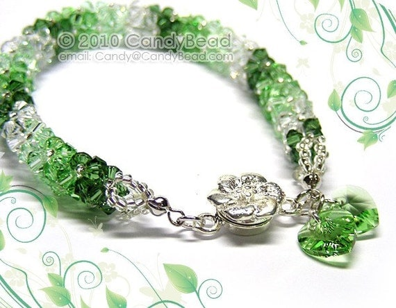 Luxurious Green Shade Swarovski Crystal Bracelet by CandyBead