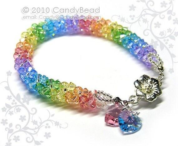 Swarovski bracelet, Luxurious Sweet Candy Shade Swarovski Crystal Bracelet by CandyBead