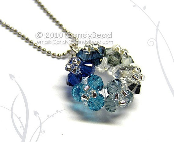 Metallic Flower bunch Swarovski Crystal Pendant Necklace by CandyBead