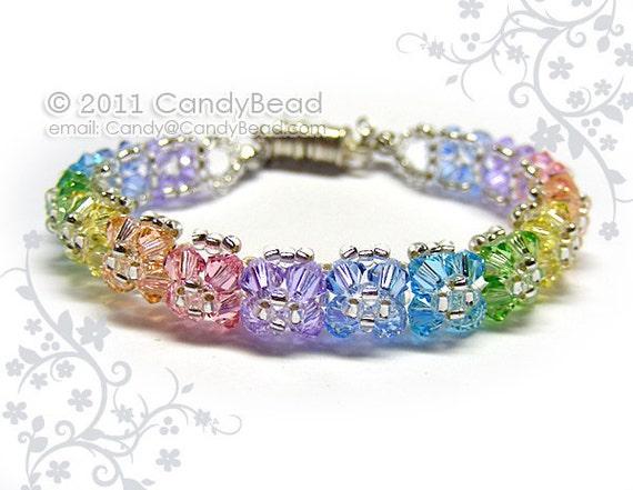 Sweet Rainbow Flora Crystal Bracelets