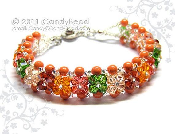 Swarovski Bracelet, Bright Corals Shade Crystals by CandyBead
