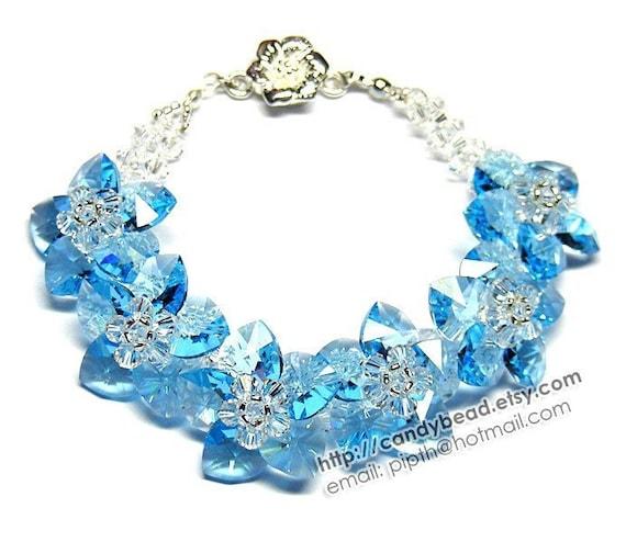 Aquamarine Flowers Swarovski Crystal Bracelet by CandyBead