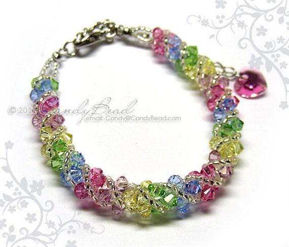 Swarovski bracelet, Sweet rainbow twisty Swarovski Crystal Bracelet by CandyBead