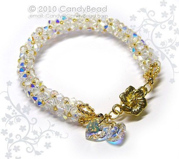 Luxurious White AB Swarovski Crystal Bracelet with Floral Magnetic clasp by CandyBead