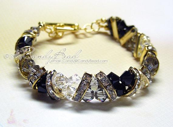 Swarovski Bracelet, Black and White Crystal Cuff Bracelet by CandyBead