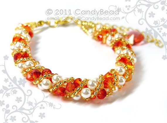 Fire opal and White Twisty Swarovski Pearl Bracelet by CandyBead