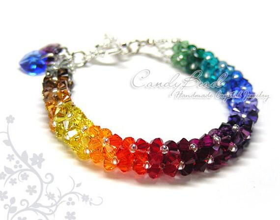 Swarovski bracelet, Luxurious Dark Rainbow Swarovski Crystal Bracelet by CandyBead