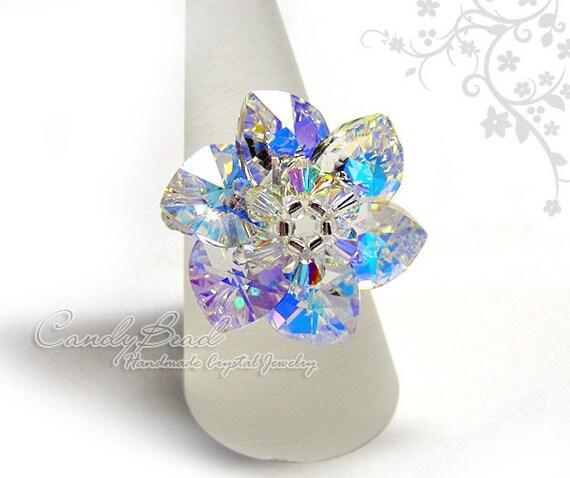 Swarovski ring, Aurora Borealis Heart Swarovski Crystal Ring by CandyBead (R005-02)