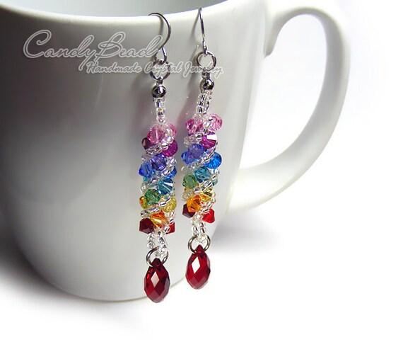 Swarovski earrings, Spectrum rainbow twisty Swarovski Crystal by CandyBead (E009-04)