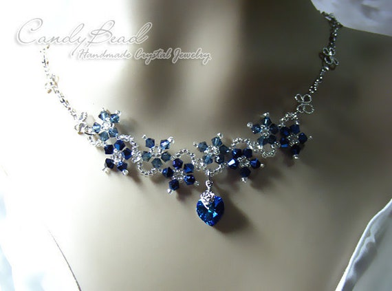 Swarovski Necklace, Navy Blue Flower Dancing Swarovski Crystal Silver Necklace (N007-01)
