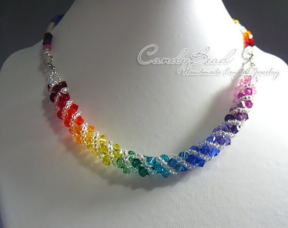 Swarovski necklace, Spectrum rainbow twisty Swarovski Crystal necklace by CandyBead (N004-02)