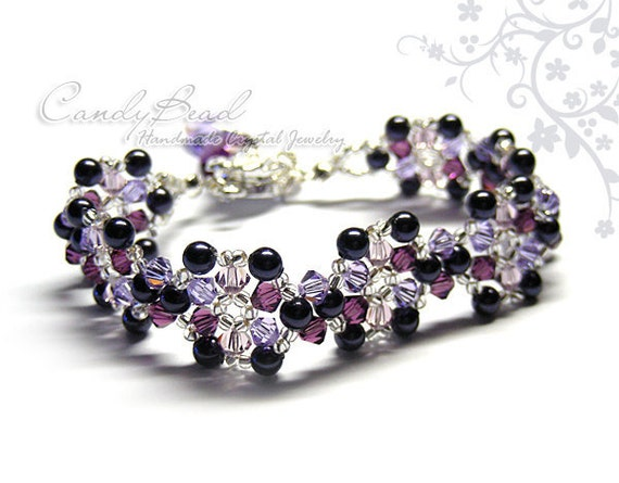 Blueberry Swarovski Crystal Bracelet by CandyBead