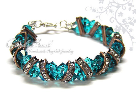 Swarovski Bracelet, Gorgeous Brown and Teal Crystal Cuff Bracelet by CandyBead