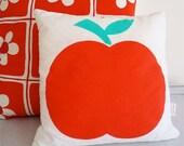 retro apple cushion pillow screen printed by Jane Foster