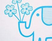 Retro elephant screen print by Jane Foster