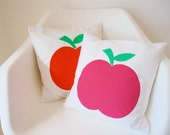 Scandi style screen printed retro modern apple cushion pillow cover by Jane Foster