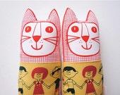 Retro boy girl fabric toy cat plush softie by Jane Foster