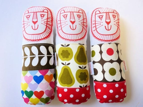 Cute screen printed with Orla Kiely fabric lion softie toy