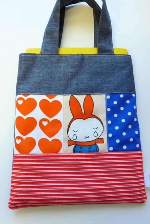 Vintage 70s Miffy fabric book tote bag