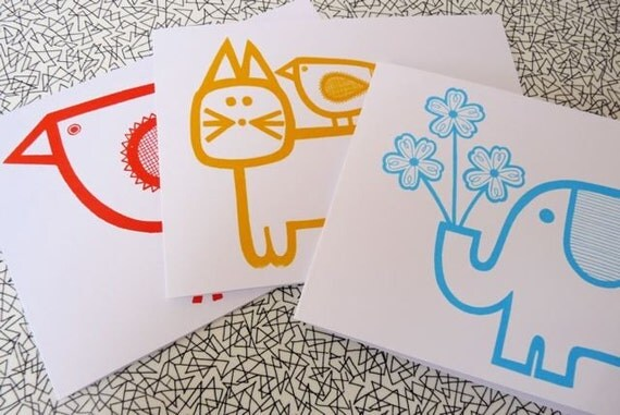 Set of 3 screen printed bird cat and elephant cards by Jane Foster