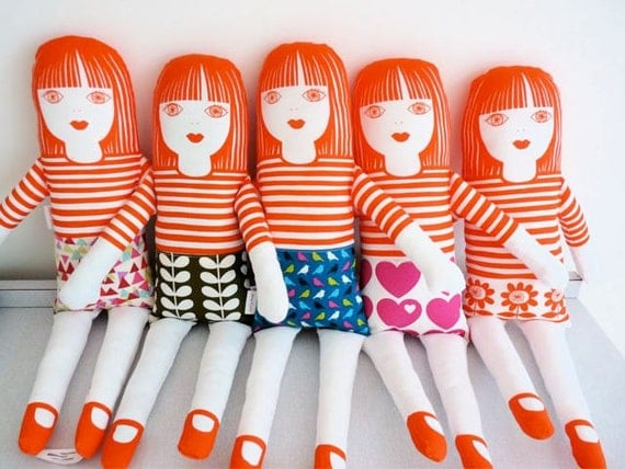 Retro hearts doll kit by Jane Foster 70s style