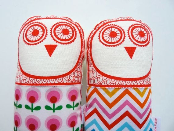 Screen printed retro owl plush toy by Jane Foster