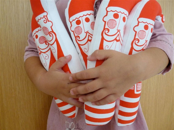 Screen printed Retro Santa Father Christmas plush toy doll