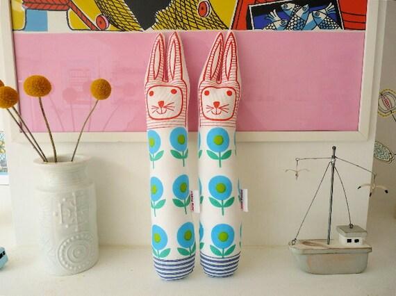 Child's scandinavian style blue flower softie toy bunny rabbit plush