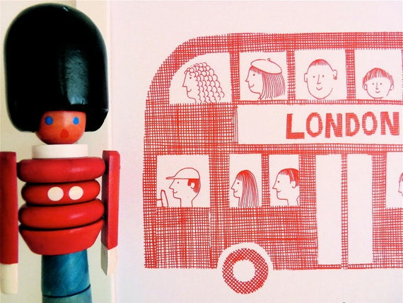 SALE  - Limited edition retro London Bus print by Jane Foster