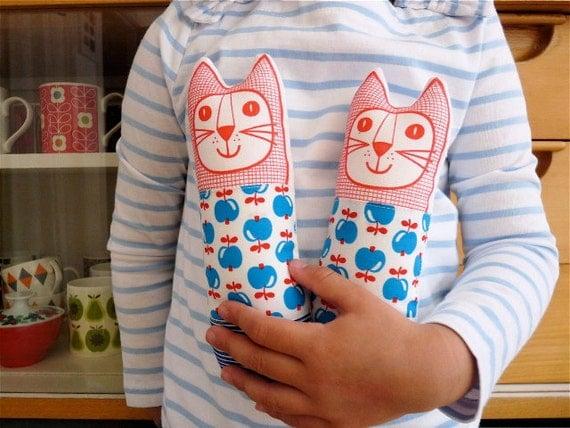 Child's scandinavian softie toy mini cat plush 70s apple fabric
