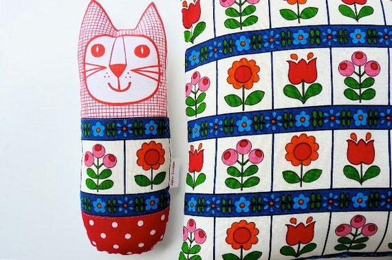 Original 70s Scandinavian fabric handmade cat toy plush softie by Jane Foster