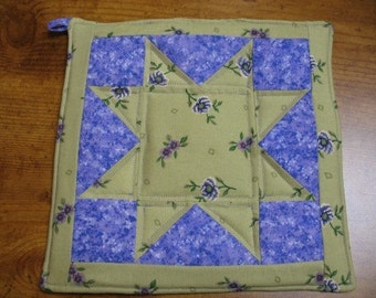 Green and Purple Flower Star Pot Holder trivet handmade top quilted for durability ready to ship candle mat