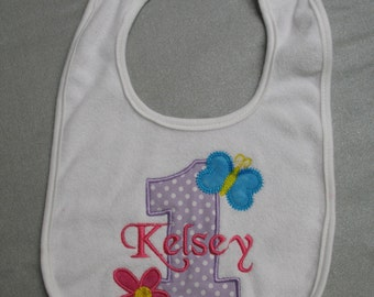 Hugs and Stitches Girl's First Birthday Bib Applique Embroidered Baby Bib personalized custom choose your own fabric 1st birthday bib