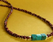 Cranberry Button Pearl and Turquoise Square Necklace
