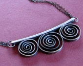 Sterling Silver Tri-spiral Hand-fabricated Necklace