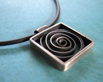 Spiral Squared (large)- hand fabricated and oxidized sterling silver pendant with a single spiral in a square frame