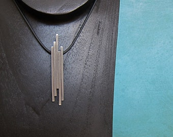 Art Deco, Sterling Silver, Hand-forged Pendant, Five Bars