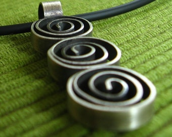 Three Amigos- Hand fabricated and Oxidized Sterling Silver Pendant with Three Spirals