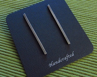 Stick Earrings- Hand fabricated and Oxidized Sterling Silver Post  Earrings